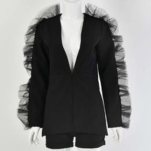 Летний костюм женский комплект из 2 предметов спортивный костюм для женщин свободный уникальный кружевной Блейзер и бриджи костюмы с укоро...(China)