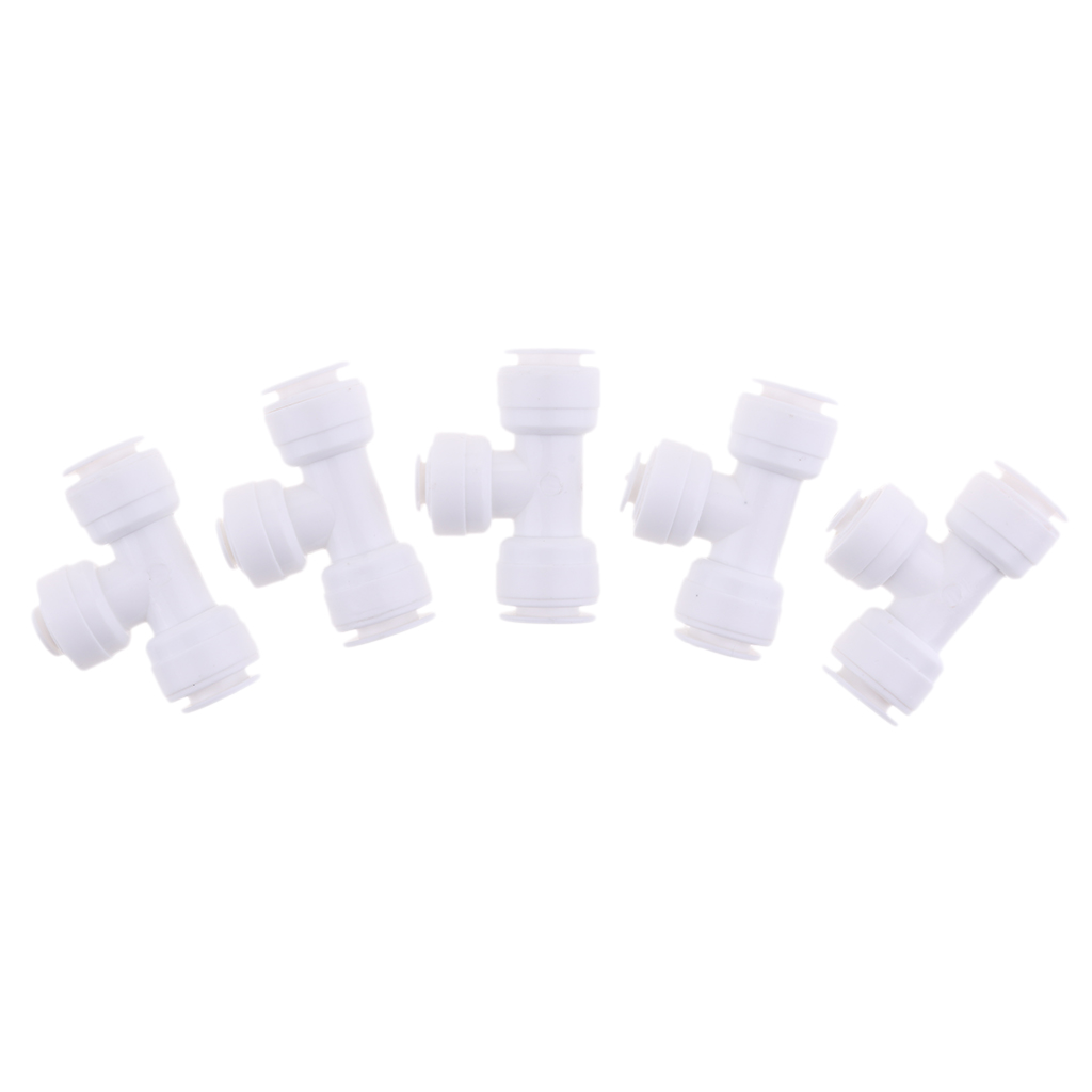 5 Pieces Ball Valve Connector Fitting 3/8inch 1/4inch 3/8inch Pushfit- Fridge Pipe, RO Water Reverse Osmosis Tubing
