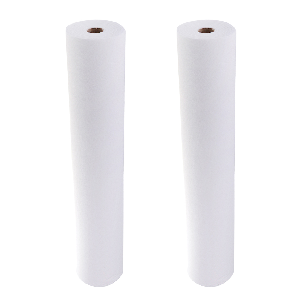 2 Roll 100 Sheets Non-Woven Headrest Paper Roll Spa Salon Massage Bed Table Cover Tattoo Supply- 50x70cm, White
