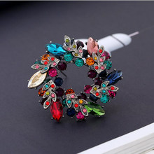 Morkopela Besar Bunga Kristal Bros untuk Wanita Fashion Bros Pin Bouquet Rhinestone Bros dan Pin Syal Klip Perhiasan(China)