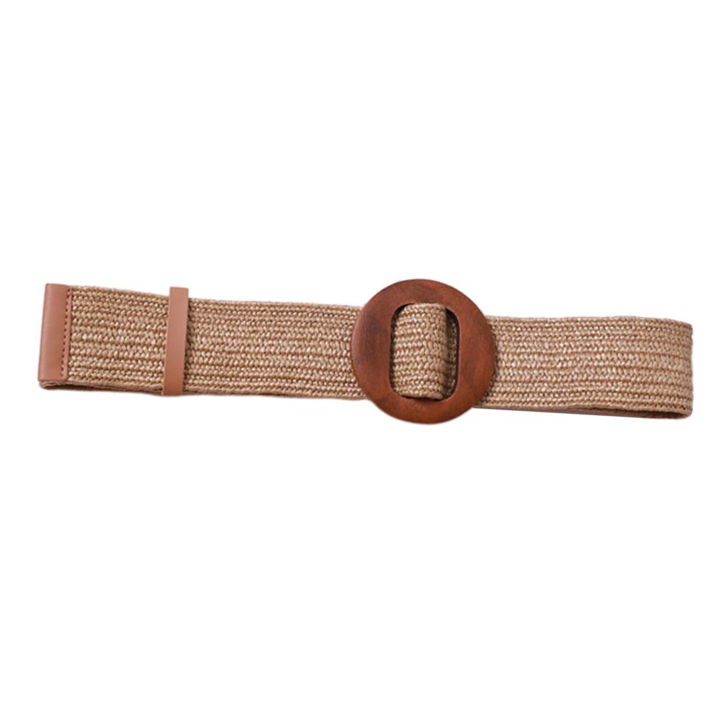 Women Braided Straw Waistband Cinch Belt with Round Wooden Buckle