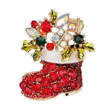 1pcs Creativo Di Natale Regali di Natale Babbo Natale Alberi Di Natale Calzini e Calzettoni Cappello Calzino Spille di Strass Per Le Donne del Regalo(China)