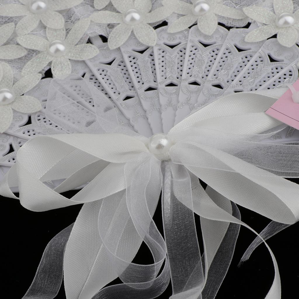Vintage Bridal Lace Bouquet Fan Crystal Bridesmaid Bouquet Wedding Bouquet Flapper Accessories (White)