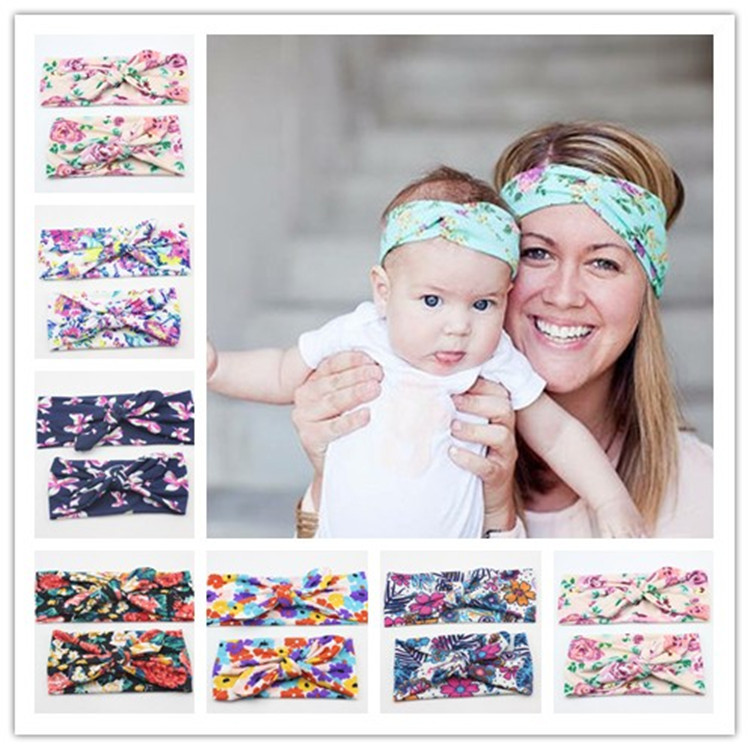 2pcs Women Girls Mom and Baby Flower Headband Boho Photo Props Dress up Hairband