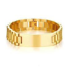 Personalizado pulseira de homem stainles aço na cor do ouro texto personalizado para meu filho acessórios dos homens(China)