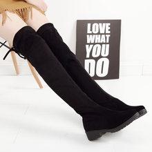 Uyluk yüksek çizmeler kadın kış çizmeler kadın diz üzerinde çizmeler düz streç seksi moda ayakkabılar siyah Botas Mujer 2019(China)