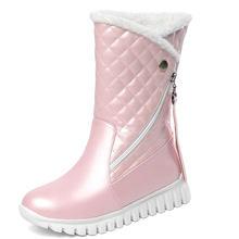 Lloprost ke artı boyutu 29-45 beyaz siyah pembe Faux kürk saçak platformu kış ayakkabı kadın peluş sıcak orta buzağı kar botları Bootie(China)
