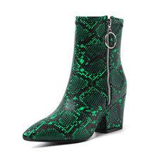 WETKISS Kleurrijke Snake Skin Pu Enkellaars Vrouwen Hoge Hakken Booties Vrouwelijke Partij Schoenen Dames Wees Teen Schoenen Vrouwen Winter(China)