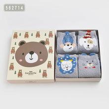 Caramella 4 זוגות חדש חורף צמר ילדי גרביים חמוד 3D אוזן חיה עבה חם גרבי תינוקת ילד מצחיק שמח גרבי אריזת מתנה סט(China)