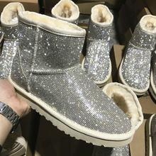 2020 taklidi kış çizmeler kadın ayakkabıları sıcak gerçek yün kürk yarım çizmeler kürklü kadınlar platformu kar botları koyun derisi ayakkabı(China)