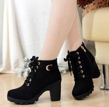 Lace Up Boots kadın blok topuklu Punk platform ayakkabılar siyah sarı kahverengi gotik savaş yarım çizmeler kadınlar için artı boyutu 41(China)