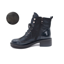 VAIR MUDO 2019 yeni marka moda yarım çizmeler ayakkabı kadın Martin çizmeler sonbahar kış hakiki deri Lace Up kalın topuk DX85(China)