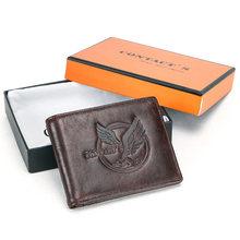 Gravure gratuite 100% cuir de vache hommes portefeuilles porte-monnaie petit porte-cartes sacs d'argent mâle à deux volets portefeuille marque Design portefeuille(China)