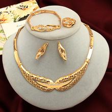 Luxus Klassische Dubai Afrikanischen Antiken Stil 4 teile/satz Kristall Gold Schmuck Sets Hochzeit Engagement Braut Schmuck Set(China)