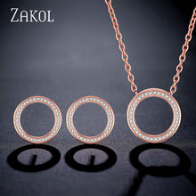 ZAKOL Heißer Verkauf Rose Gold Farbe Kreis Zirkonia Kristall Mode Ohrringe Halskette Set Für Elegante Frauen Hochzeit Schmuck FSSP3016(China)