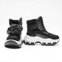 Fujin Kadın Botları Platformu 2019 Yeni Kış Peluş Kürk Ayakkabı Retro Kadın Nefes Çizmeler Kadın Sıcak Kar Botları Ayakkabı Patik(China)