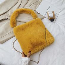 Bolsos de hombro de piel sintética para mujer 2019 invierno cálido bandolera bolso de viaje femenino bolsos de Color sólido(China)