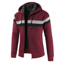 2019 가을 겨울 스웨터 코트 남자 두꺼운 따뜻한 후드 가디건 스웨터 남자 스트라이프 캐시미어 울 라이너 지퍼 양털 코트 남성(China)