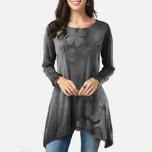 Frauen Rüschen Unregelmäßige Druck Floral O Neck Tunika Bluse Langarm Lose Tops Tuniken Blusen 2020 Dame Vintage Casual Blusas(China)
