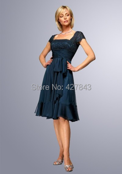 1-Square Neck V back Top Lace Chiffon Short Peacock Mother of The Bride Dress Knee Length Custom Made
