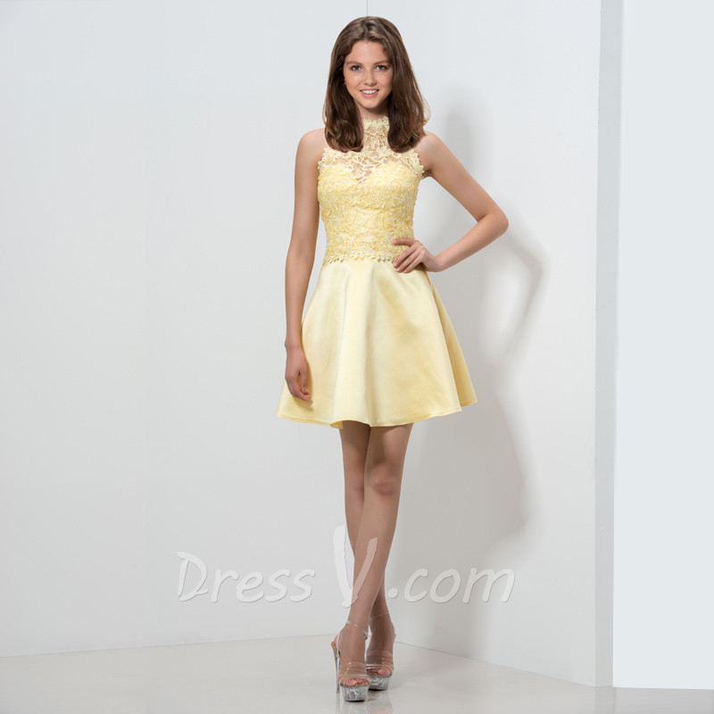 Yellow Cocktail Dresses - Dress Xy