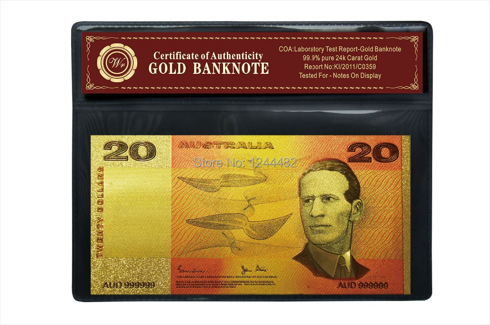 Novelty Austrlia Curency Colorful Gold Banknote 20 Old AUD Bill Gift Australia(China (Mainland))