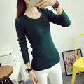 20 Colors High Quality Cheap Slim Inside O Neck Long Sleeve Knitted Cotton Winter Sweaters For