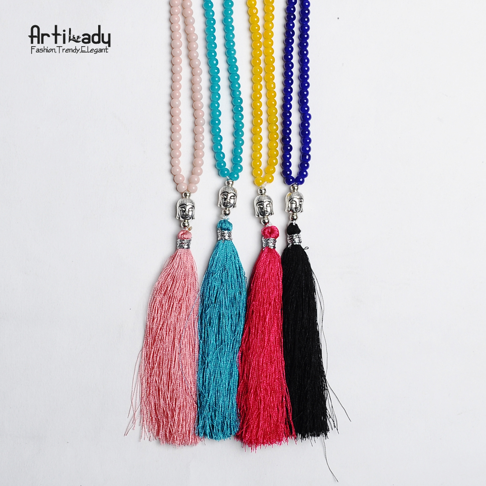 Artilady beaded chain buddha pendant necklace silver ...