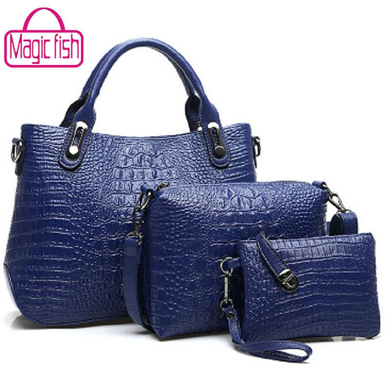 Magic Fish! New women's handbags PU crocodile skin bag women purses fashion postman shoulder bag women messenger bags LS8027mf(China (Mainland))