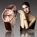 2016 new luxury brand V6 casual and fashion quartz watch for women round shape dial Leather