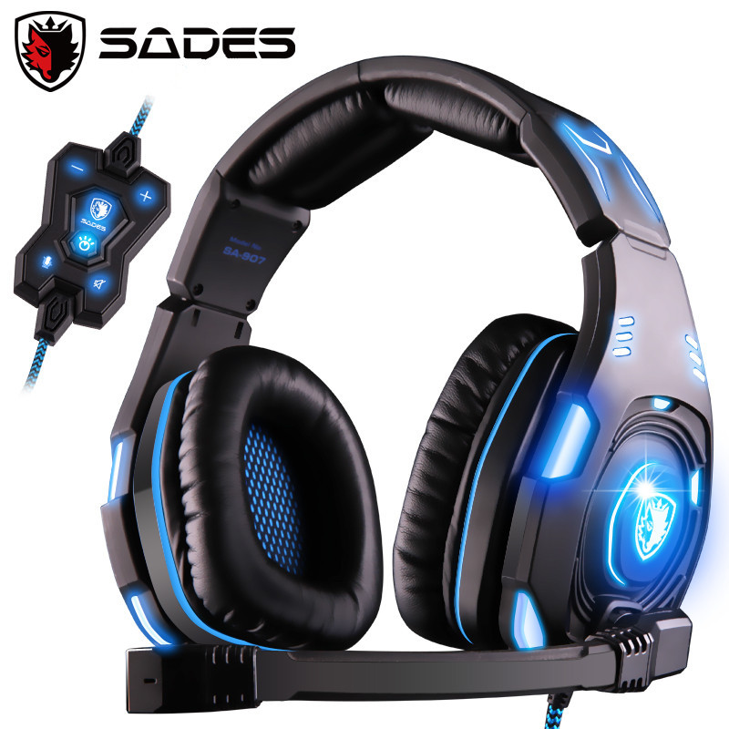 Фотография 100% Original SADES SA907 7.1 Bass Stereo earphone Glittering Headset computer Gaming Headphones with Microphone