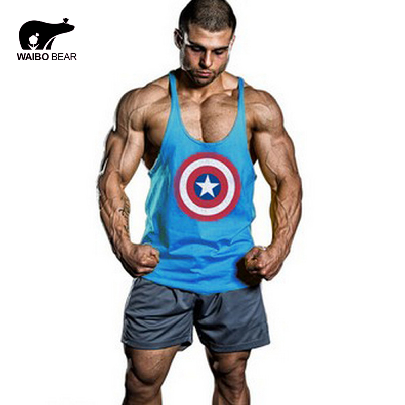 95% cotton Golds Gym Tank Top Men Shirt Bodybuilding Stringer Fitness Mens Sports Singlets Muscle gym Clothes Vest WAIBO BEARОдежда и ак�е��уары<br><br><br>Aliexpress