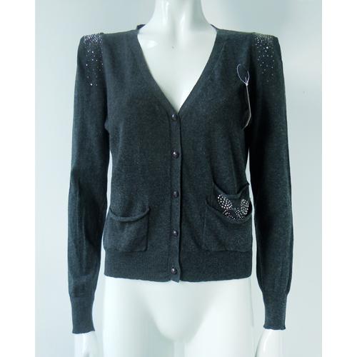 High quality Slim spring/autumn women's Rivet short Cardigans sweaters tops gray blusas femininas(China (Mainland))