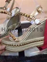 Summer 2016 Women Brand Wedge Heel Sandals platform Rivets gladiator Women Party Dress Shoes buckle Ankle Wrap Sandals USA UK(China (Mainland))