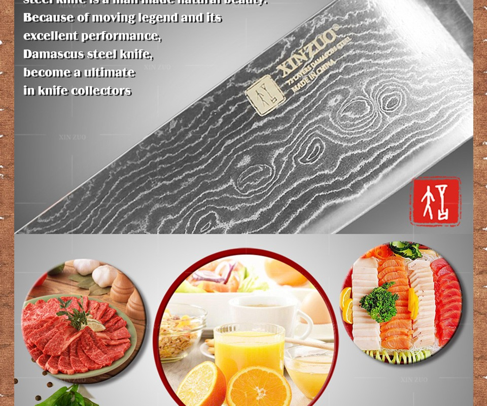 Buy XINZUO 8 inches chef knife 73 layer Japanese VG10 Damascus kitchen knife High quality sharp chef knife wood handle free shipping cheap