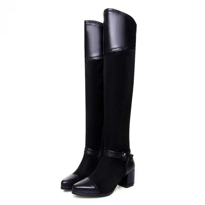 Free shipping 2014 Nubuck Leather women motorcycle boots high leg riding boots over the knee high boots High heels big size34-43<br><br>Aliexpress