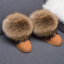 RUIYEE phụ nữ khởi động mùa đông da tuyết khởi động con cáo lông khởi động của phụ nữ 2018 new bất tóc giày ấm áp(China)