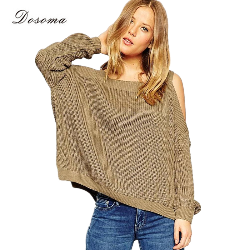 Sexy Off Shoulder Sweater 2016 European Style Fashion Loose Pullovers Sweater 4-Color Autumn/Winter Elegant Sweater Sueter Mujer(China (Mainland))