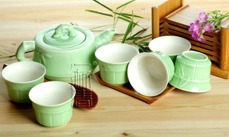 7pcs Deluxe Tea Set Porrtery Teaset Bamboo A3TL05 Free Shipping