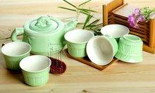 7pcs Deluxe Tea Set,Porrtery Teaset,Bamboo,A3TL05, Free Shipping