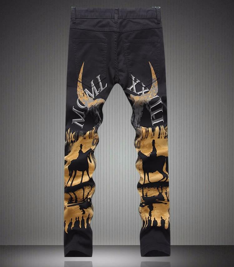 Fashion New  Designer Man Painting Print Jeans Fashion Slim Black Long Trousers