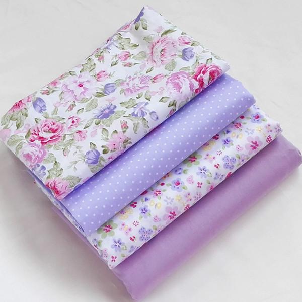 4pcs 40cm 50cm purple twill cotton fabric fat quaters for Tissu shabby chic