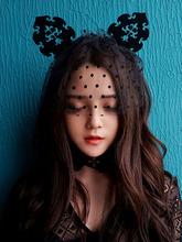 Halloween Women Lace Gothic Vintage Sexy Queen Car Ear Hairbands Hair Accessories Headwears Women