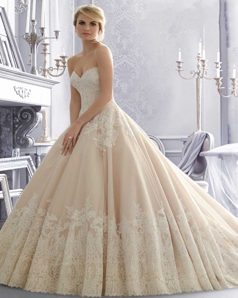 Buy vestidos de novia 2015 champagne lace for Wedding dress champagne lace