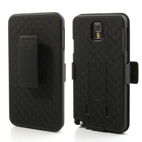1PCS Anti-slip Grid Rubberized 2 in 1 Slide Hard Case for Samsung Galaxy Note 3 N9005 With Belt Clip Holster & Kickstand