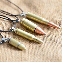 Vintage Men Necklace Bullet Necklaces For Women Choker Collier Anime Jewelry Kolye Leather Chain Necklaces & Pendants Collane(China (Mainland))