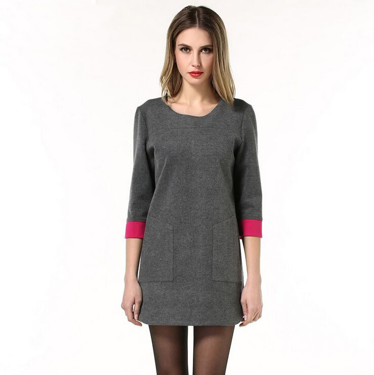 New spring arrival large size three quarter sleeve O neck loose-fitting bottom dress(China (Mainland))