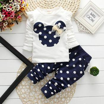 2015 new fashion girl babys clothing sets minnie children clothes bow tops t shirt leggings pants baby kids suits 2 pcs suit ret