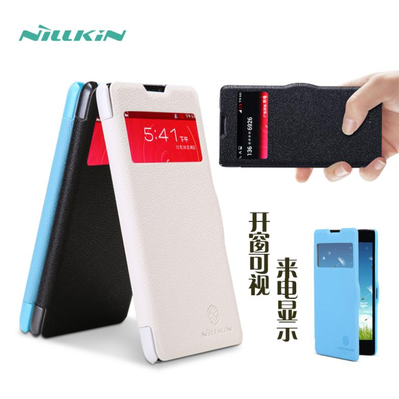 Free Shipping NILLKIN ZTE Nubia Z5S Mini Leather Case Fresh Series Nubia Z5S Mini Flip Cover Case Gift Screen Protector