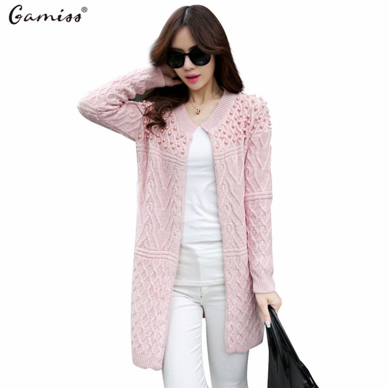 Gamiss 2016 New Women Gardigan Ladies Christmas Long Warm Sweater Coat Women Elegant Loose Beaded Designer Knitted Cardigans(China (Mainland))